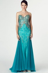 Mermaid Sleeveless Beaded Sweetheart Tulle Prom Dress