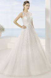 A-Line Floor-Length Bateau Sleeveless Appliqued Tulle Wedding Dress With Pleats And Illusion Back
