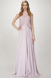 Sleeveless Lace Jewel Neck Chiffon Bridesmaid Dress With Deep-V Back