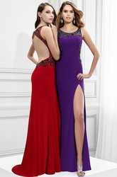Beaded Scoop Neck Sleeveless Jersey Prom Dress