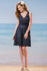 Sleeveless V-Neck Short A-Line Lace Bridesmaid Dress With Illusion Back