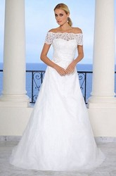 Off-The-Shoulder Maxi Lace Satin Wedding Dress