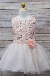 Embroideried Midi Floral Tulle&Sequins Flower Girl Dress With Ribbon