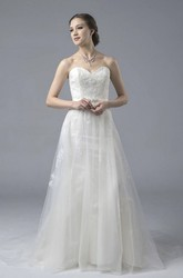 A-line Tulle Sweetheart Open Back Wedding Dress With Lace And Appliques And Buttons