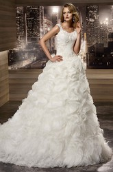 Square-neck Cap sleeve Lace Wedding Dress with Cascading Ruffles and Pleated Details