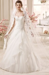 Sweetheart A-line Wedding Dress with Asymmetrical Ruffles and Beaded  Detail