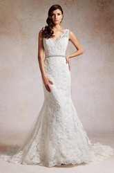 V-Neck Sleeveless Mermaid Wedding Dress With Sequins And Appliques