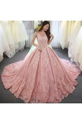 Illusion 3 4 Length Sleeve V-neck Ball Gown Lace Tulle Lace-up Corset Back Wedding Dress