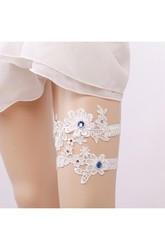 Western Style Blue Diamond Lace Elastic Two Sets Of Bridal Garter Within 16-23inch