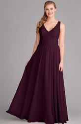Maxi Lace V-Neck Sleeveless Chiffon Bridesmaid Dress With Bow And Keyhole