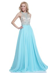 A-Line Maxi High Neck Sleeveless Chiffon Straps Dress With Beading And Pleats
