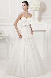 Sweetheart Tulle A-Line Bridal Gown With Lace And Beading Waist