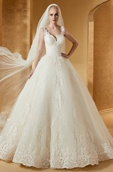 Cap Sleeve V-Neck Ball Gown With Lace Bodice And Embroideries