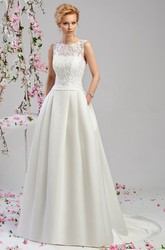A-Line Appliqued Scoop-Neck Floor-Length Sleeveless Satin Wedding Dress With Embroidery
