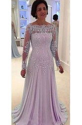 Long Sleeve A-line Bateau Floor-length Chiffon Lace Mother of the Bride Dress with Pleats