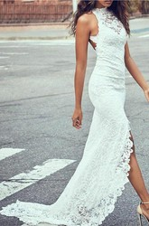 Sexy Lace Sheath Halter Sleeveless Split Front Wedding Gown with Court Train