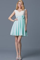 A-line Sleeveless Pleated Short Chiffon Dress With Flower Belt