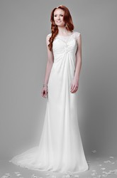 Empire Chiffon Bateau Neck Wedding Dress With Keyhole Back And Lace Top