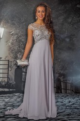 Sheath Scoop-Neck Cap-Sleeve Beaded Floor-Length Chiffon Prom Dress With Pleats