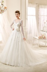 Mature Long-sleeve A-line Wedding Dress with Flower and Illusive Design