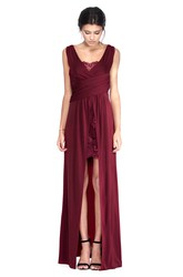 Floor-Length Sleeveless V-Neck Draped Chiffon Bridesmaid Dress