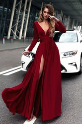 Chiffon Sheath Plunging Long Sleeve Low-V Back Dress