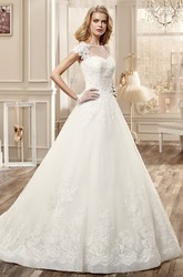 Cap-Sleeve A-Line Wedding Dress With Illusive Neckline And Embroidery