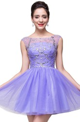Lovely Crystal Sleeveless Short Homecoming Dress Tulle