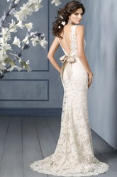 Graceful Bateau Neckline Floor Length Lace Dress With V Back