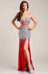 Sequined Tulle Sleeveless Prom Dress With See-Through Back And Side Slit