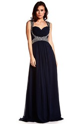 Sleeveless Beaded Strapped Chiffon Prom Dress With Criss Cross