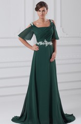 square-neck chiffon maxi ruched dress with appliqued waist