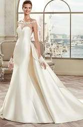 Off-Shoulder Satin Long Wedding Dress With Illusive Design And Back Bow