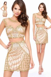 Pencil Short Scoop-Neck Sleeveless Illusion Dress With Beading