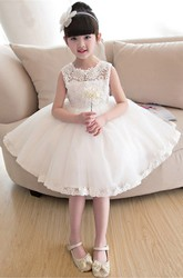 Ball Gown Laced Bateau Sleeveless Flower Girl Dress