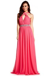 Floor-Length Ruched Sleeveless Halter Chiffon Prom Dress