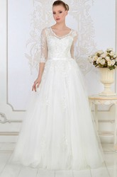 A-Line 3-4-Sleeve V-Neck Tulle&Lace Wedding Dress With Illusion
