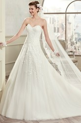 Simple Sweetheart A-Line Lace Bridal Gown With Open Back Brush Train