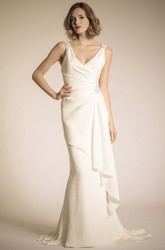 Floor-Length V-Neck Draped Chiffon Wedding Dress With Court Train And V Back