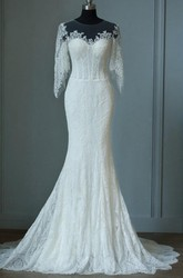 Mermaid Floor-Length Half Sleeve Bell Zipper Keyhole Lace Dress