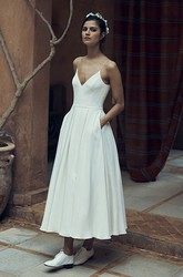 Sexy Chiffon Spaghetti Ankle-Length Bridal Gown with Pocket and Deep-V Back