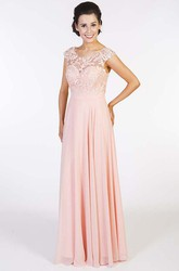 Embroidered Scoop-Neck Floor-Length Cap-Sleeve Chiffon Prom Dress