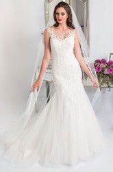 Trumpet Appliqued Floor-Length Sleeveless Bateau Lace&Tulle Wedding Dress With Court Train And Corset Back