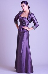 Sheath Beaded Strapless 3-4-Sleeve Long Satin Prom Dress With Cape And Flower