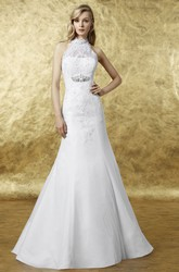 A-Line Appliqued Sleeveless High Neck Maxi Satin Wedding Dress With Illusion Back And Waist Jewellery