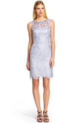Short Sheath Bateau Neck Beaded Sleeveless Lace Bridesmaid Dress With Keyhole