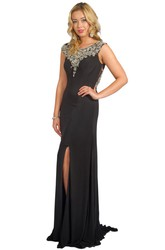 Sheath Beaded Sleeveless Scoop-Neck Floor-Length Jersey Prom Dress With Split Front