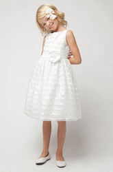 Tea-Length Floral Floral Tulle&Sequins Flower Girl Dress With Sash