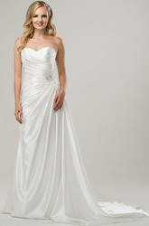 Sheath Floor-Length Sweetheart Jeweled Satin Wedding Dress With Criss Cross And Corset Back