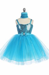 Knee-Length Cape Beaded Tiered Tulle&Sequins Flower Girl Dress With Ribbon